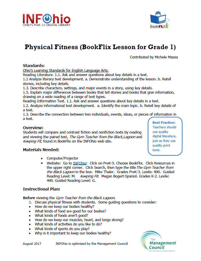Physical Fitness (BookFlix Lesson for Grade 1)