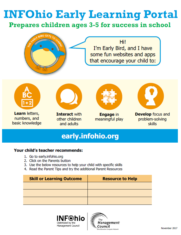 INFOhio Early Learning Portal Parent Handout