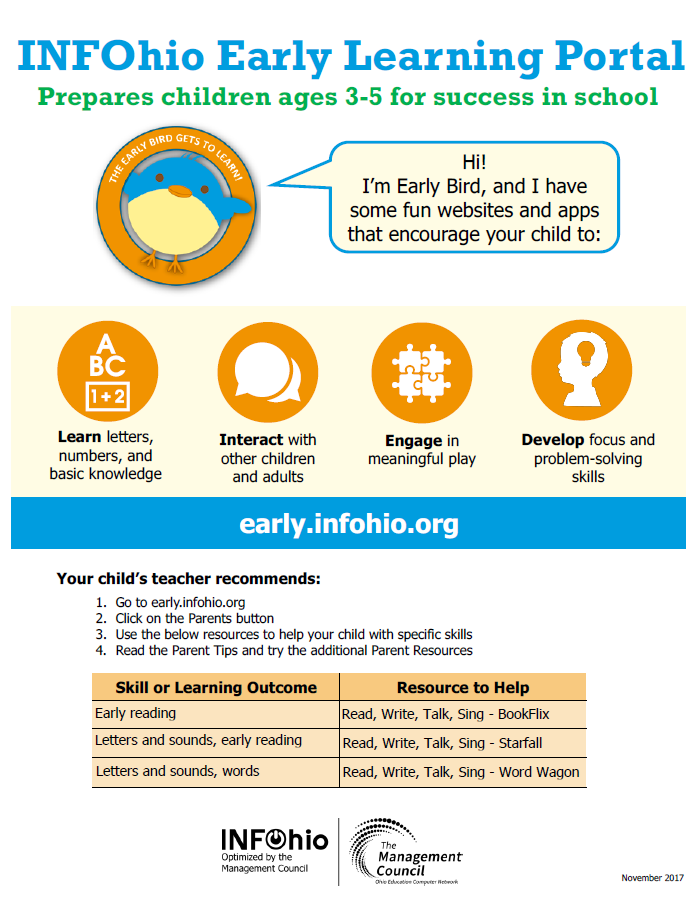 INFOhio Early Learning Portal Parent Handout with Literacy Resources