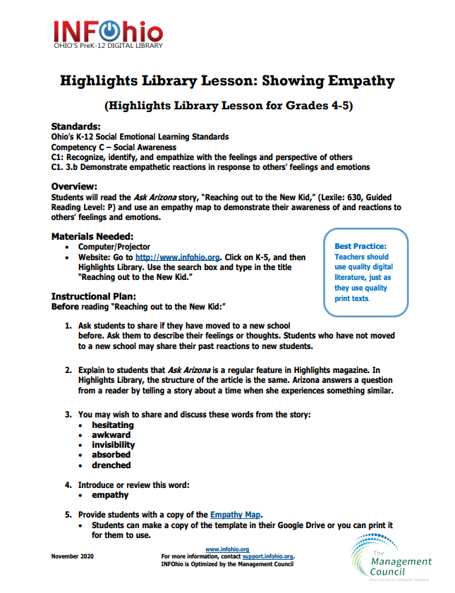 Showing Empathy (Highlights Library Lesson Grades 4-5)