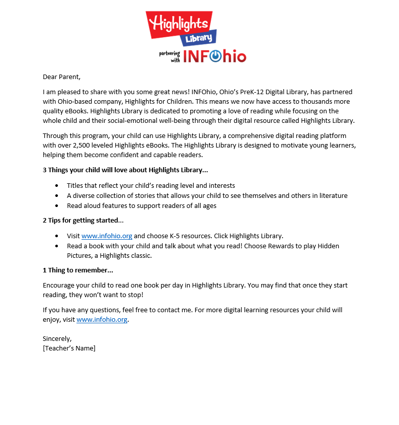 Highlights Library Parent Letter