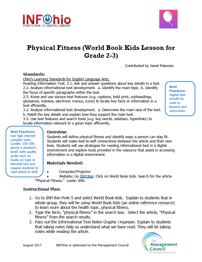 Physical Fitness (World Book Kids Lesson for Grade 2-3)